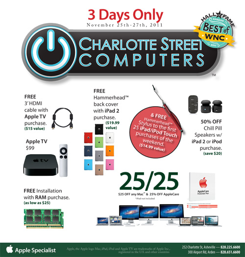 Click for full size Ad of our Black Friday Deals (Also good on Saturday and Sunday)